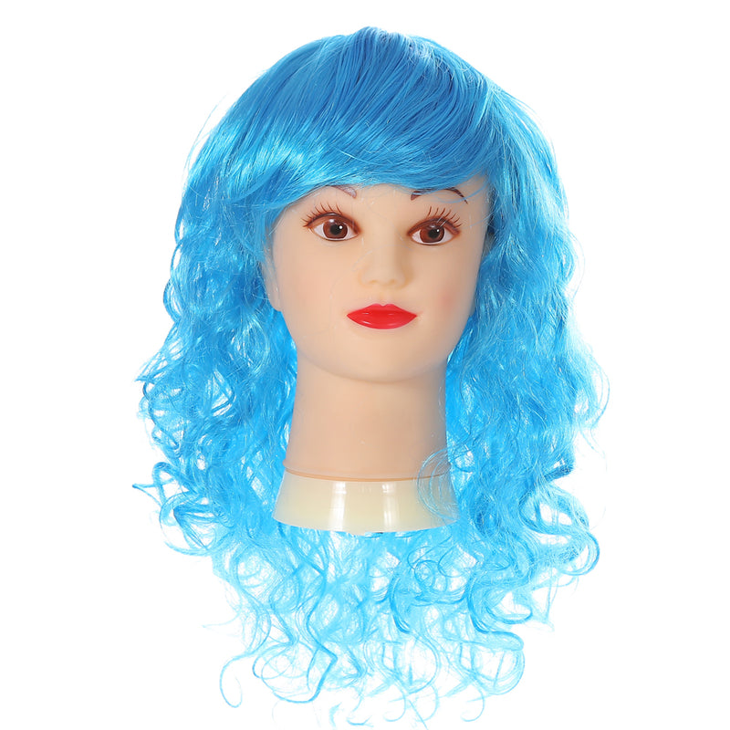 Long Curly Blue Rock Star Wig