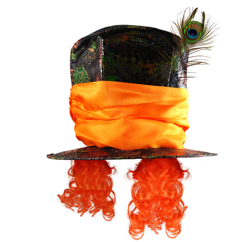 Mad Hatter Hat with Orange Hair and a Feather