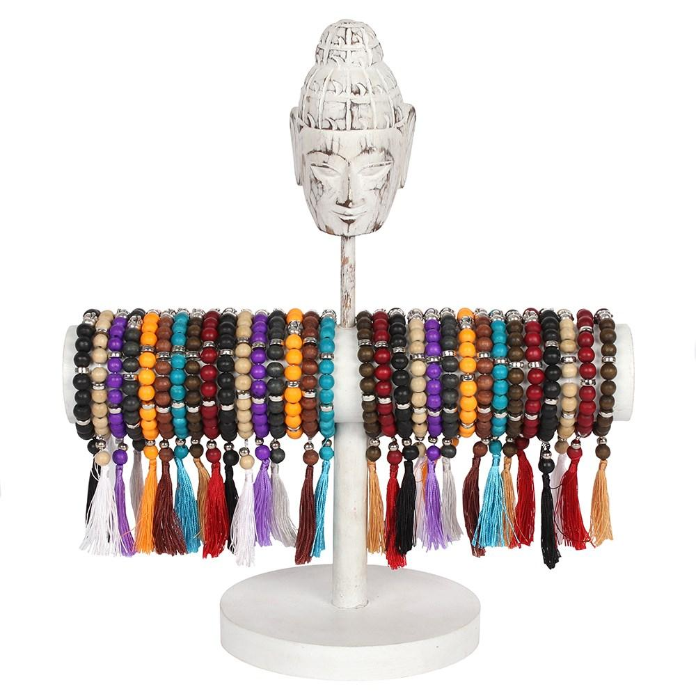 Festival Outlet: Wooden Mala bead jewellery bracelet featuring a metal buddha charm