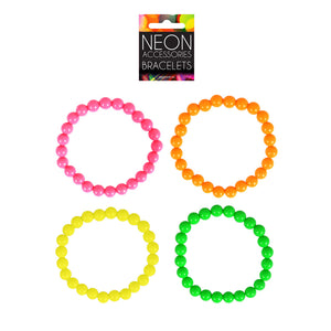 80's Neon Bracelet Beads Neon Pink, Orange, Yellow and Green