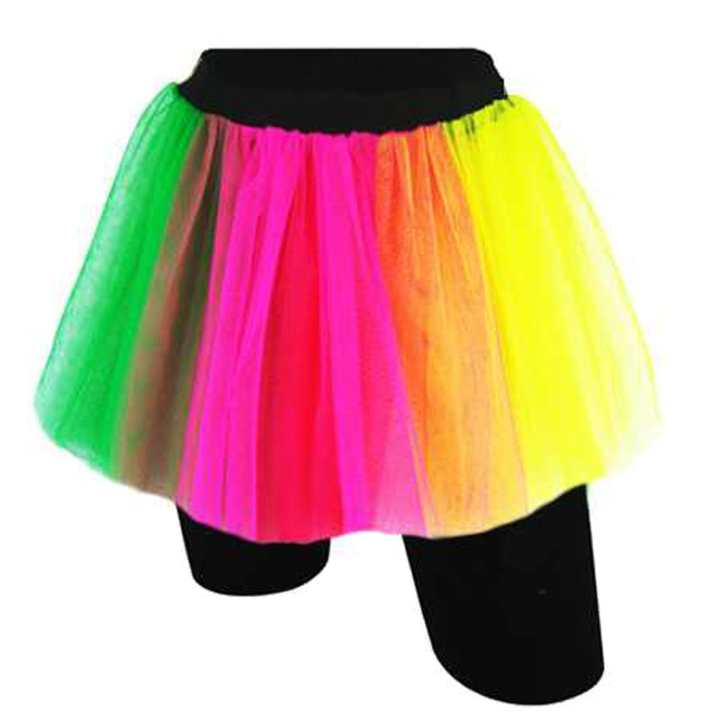 Neon Rainbow Fishnet Double Layer Tutu Skirts