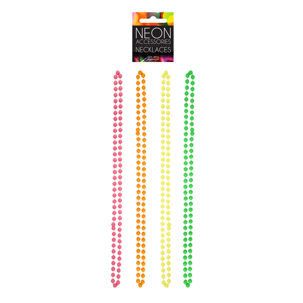 80's Neon Necklace Beads Neon Pink, Orange, Yellow and Green