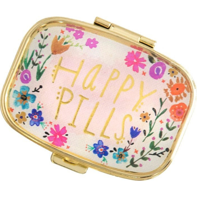 Natural Life Pink Floral Happy Pills Pill Box