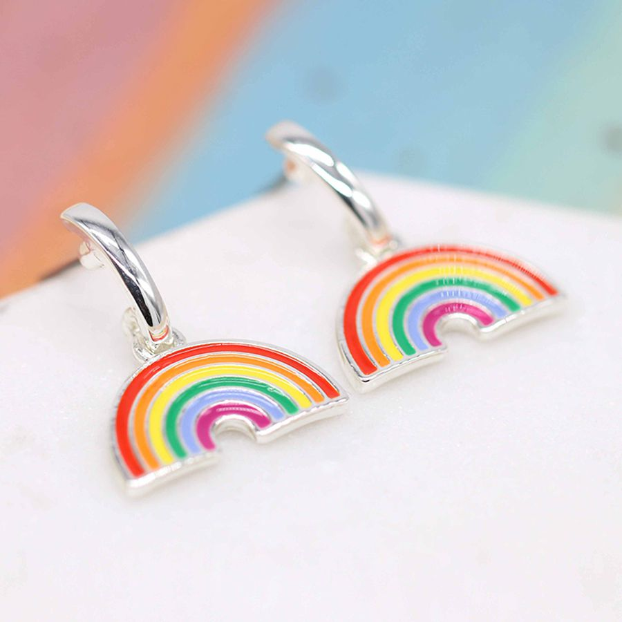 Peace of Mind Fine Silver Plated and Enamel Vibrant Rainbow Drop Earrings