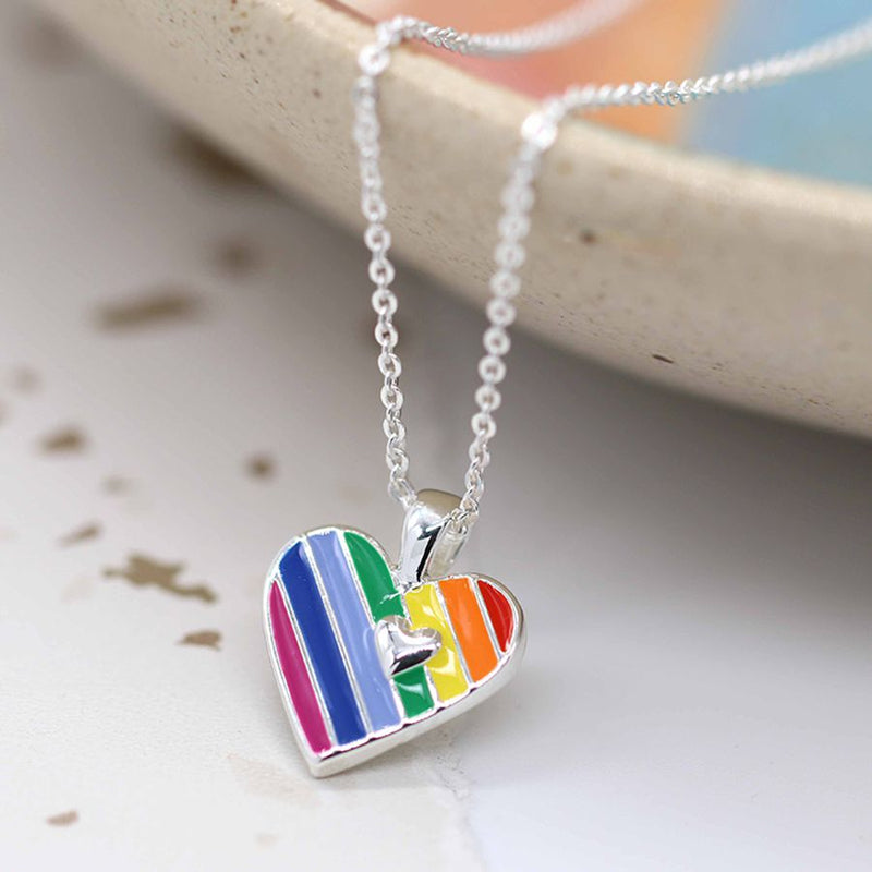 Peace of Mind Fine Silver Plated Rainbow Necklace with Vibrant Enamel Stripes and A Single Silver Heart Inside
