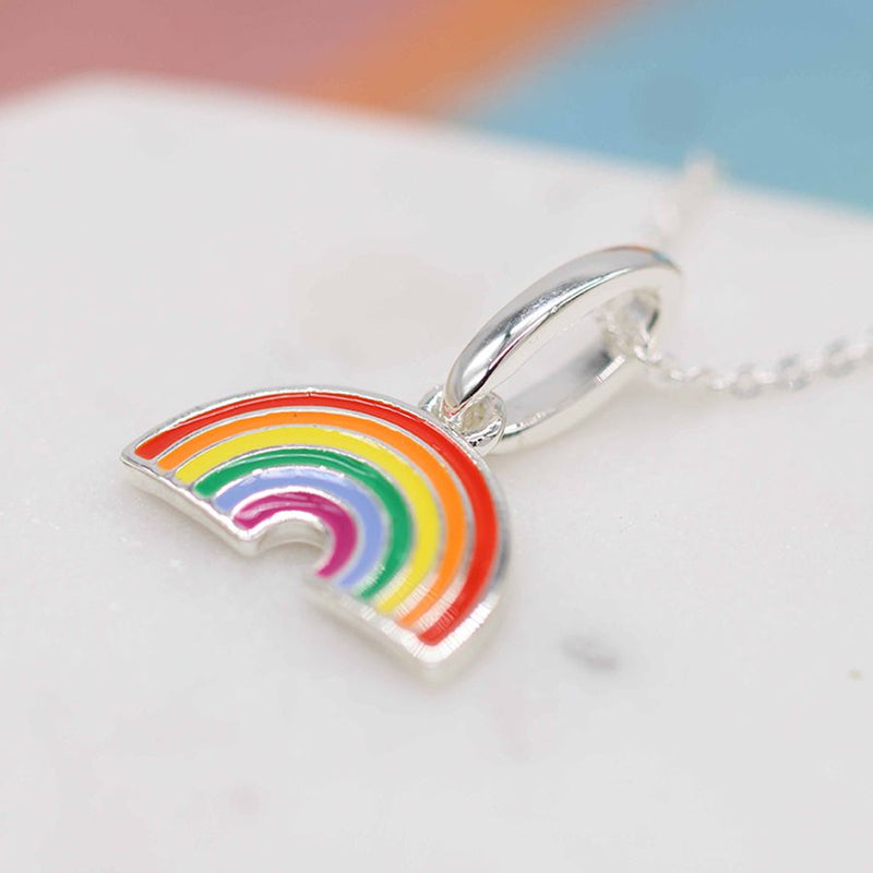 Peace of Mind Silver Plated Rainbow Necklace with Vibrant Enamel Stripes and A Fine Silver Plated Chain