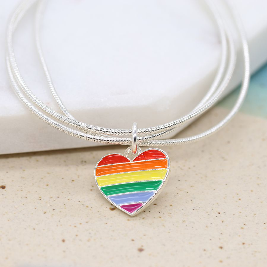 Peace of Mind Fine Silver Plated Triple Snake Chain Bracelet with a Heart Shaped Charm Decorated with Rainbow Enamel Stripes