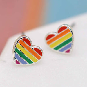 Peace of Mind Fine Silver Plated Rainbow Heart Stud Earrings with Vibrant Enamel Stripes