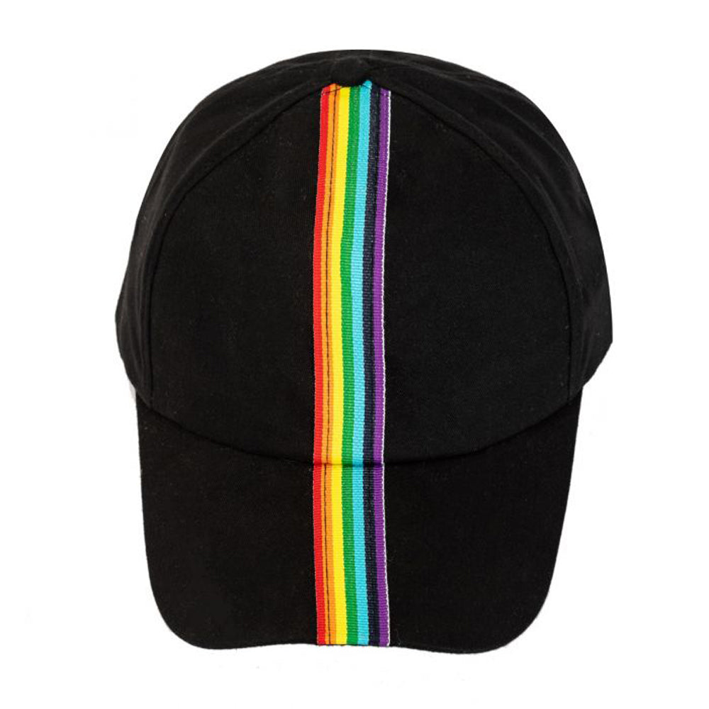 Unisex Rainbow Stripe Gay Pride Black Baseball Cap / Hat