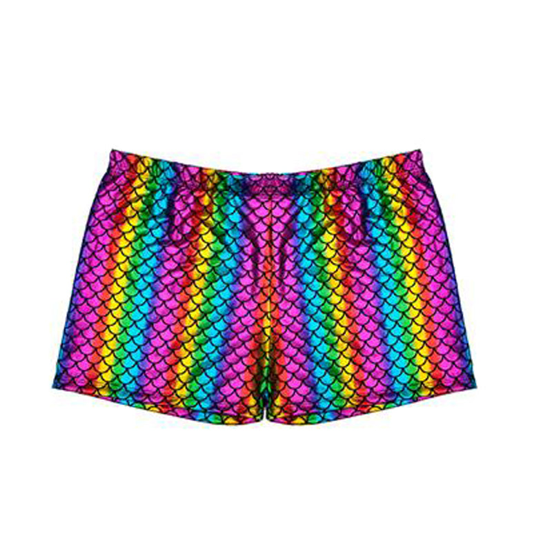 Unisex 80s Shiny Holographic Metallic Hot Pants Shorts