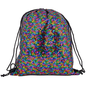 Shiny Holographic Metallic Sequin Drawstring Festival & Travel Nap Sack Backpack