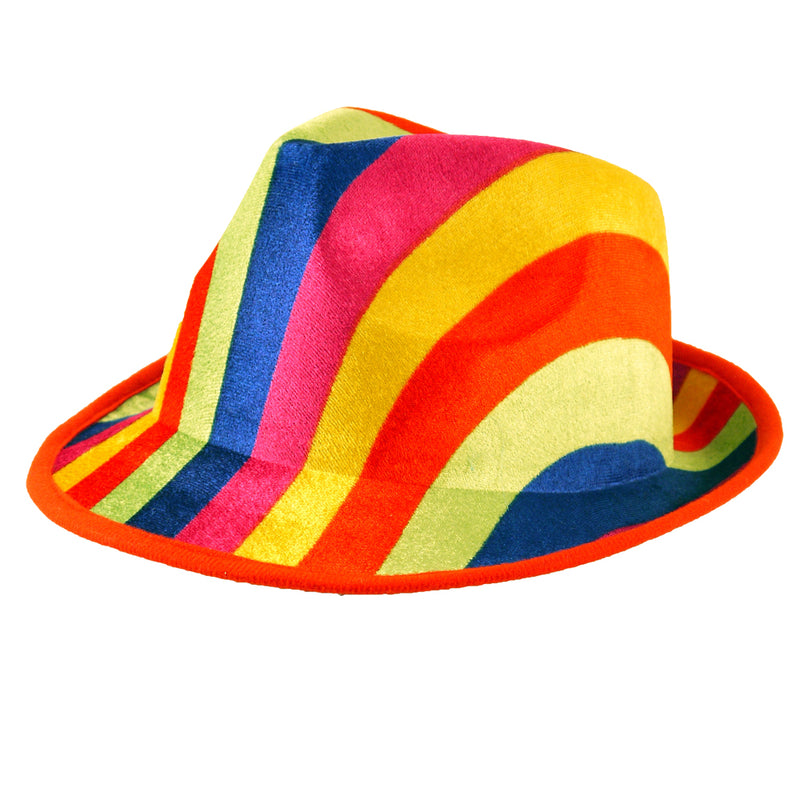 Adults Unisex Gay Pride Carnival Rainbow Trilby Felt Hat Fancy Dress Hat