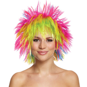 80's Rainbow Punk Multi Coloured Neon Fancy Dress Wig