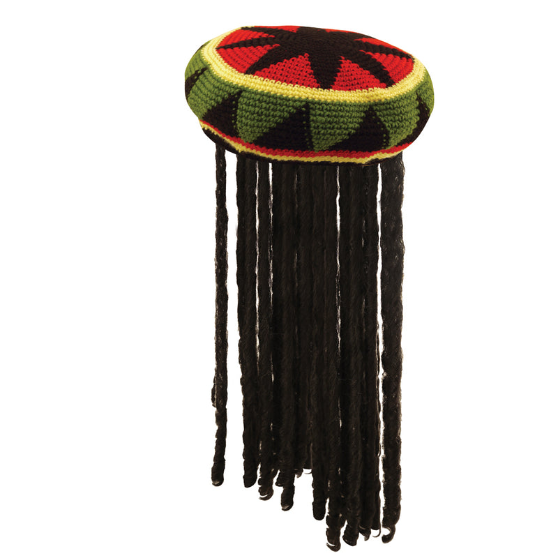 Adult Rasta Jamaican Hat with Dread Locks