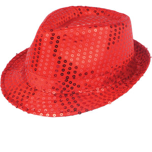 Festival Outlet: Adults Unisex Red Sequin Trilby Hat