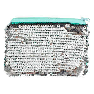 Silver and Green Reversible Sequin Purse