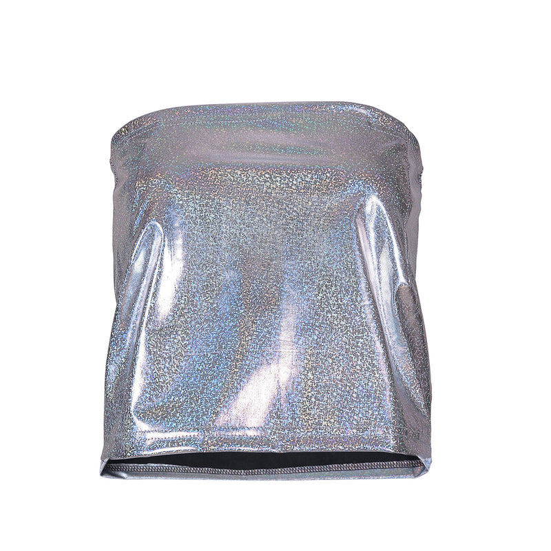 Ladies Shiny Holographic Metallic Boob Tube