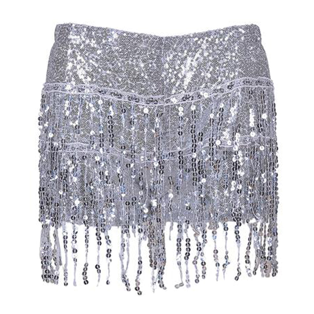 Ladies Metallic Sequin Glitter Tassel Hot Pants Skirt/Shorts