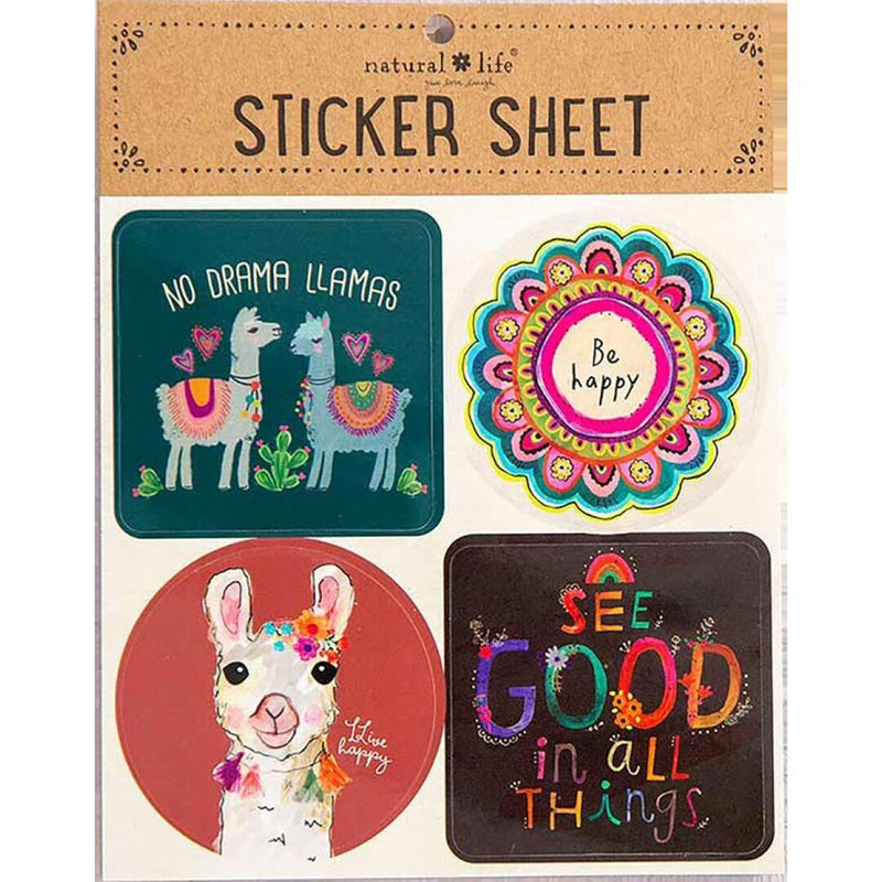 Natural Life Sticker Sheet No Drama Llamas