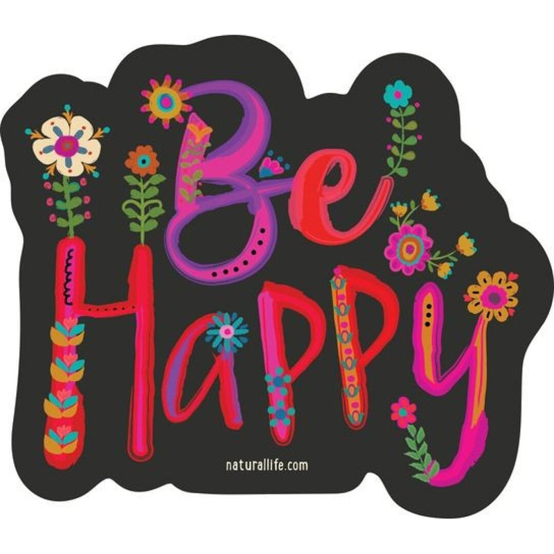 Natural Life Be Happy Floral Vinyl Sticker