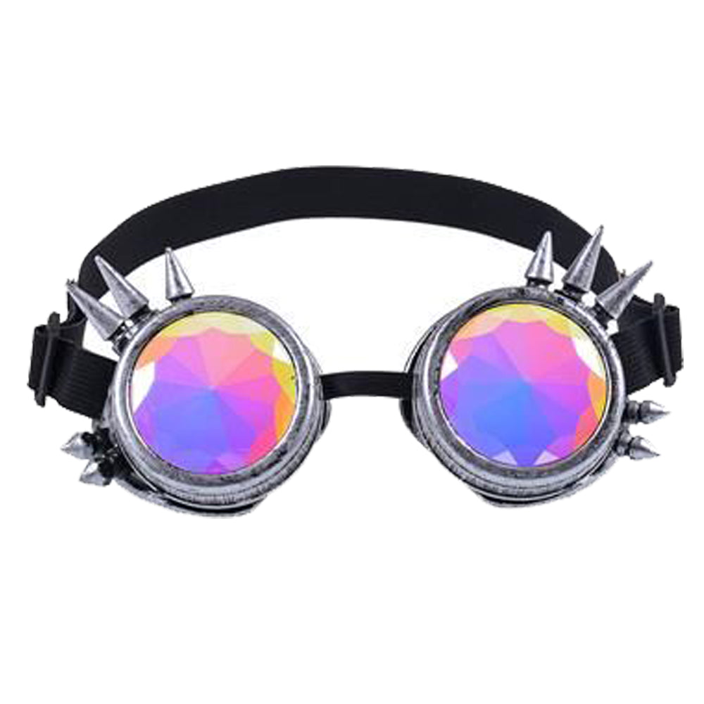 Steam Punk Kaleidoscope Antique Silver Spike Goggles