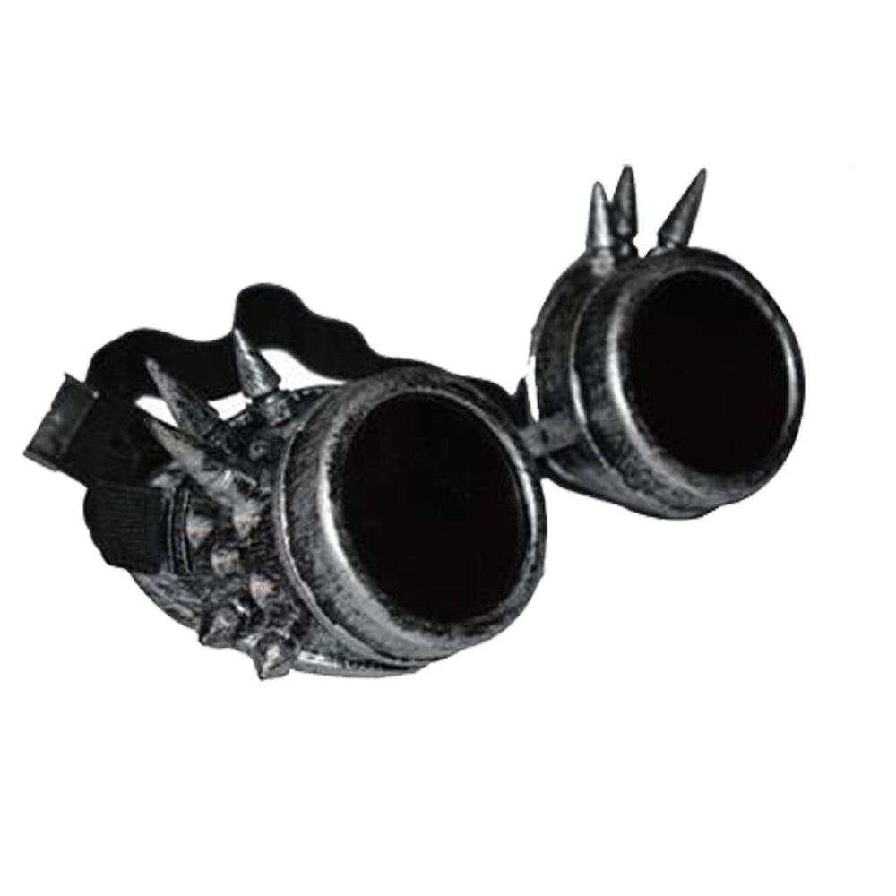 Steam Punk Black Lens Antique Silver Spike Goggles