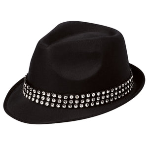 Festival Outlet: Unisex Black Trilby Hat With Gem Stones 1920s Fancy Dress