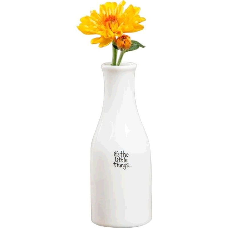 A sweet little bud vase makes for a thoughtful gift, especially when you give it with a pretty flower inside! This Bud Vase has a hand-crafted look and features a sweet sentiment… making any space a little bit brighter! Ceramic vase holds small flowers 5.5in L x 2in W x 1in diameter Ceramic