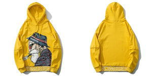 Mombert Yellow Hoodie – front and back - streetwear street fashion asian style-  Mombert printed Hoodie  Asian inspired design