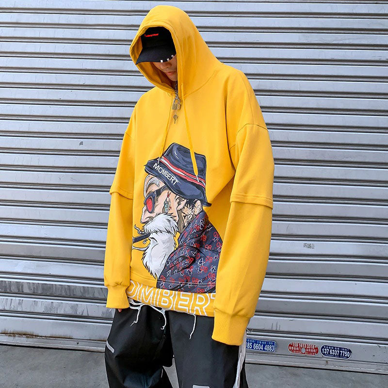 Mombert Yellow Hoodie –  streetwear street fashion asian style -  Mombert printed Hoodie Asian inspired design