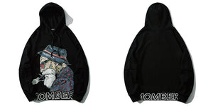 Mombert Blcak Hoodie – front and back - streetwear street fashion asian style-  Mombert printed Hoodie  Asian inspired design