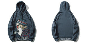 Mombert Blue Hoodie – front and back - streetwear street fashion asian style-  Mombert printed Hoodie  Asian inspired design
