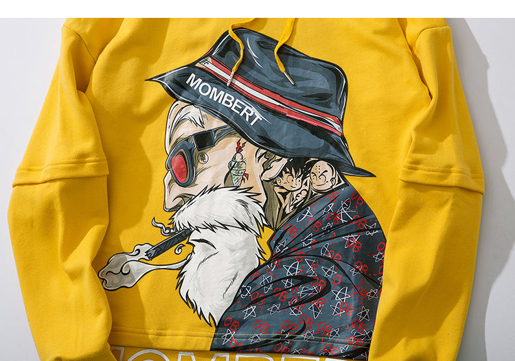 Mombert printed Hoodie Asian inspired design  –  streetwear street fashion asian style -    Mombert Yellow Hoodie