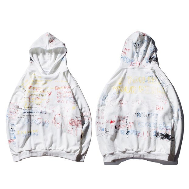 Graffiti Hoodie white – streetwear street fashion asian style-  Hoodie Asian inspired design