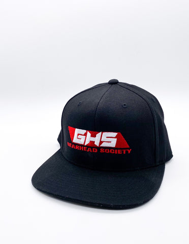 GHS Black Snap Back (varsity red/white logo)