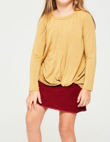 Knotted Basic Tee in Mustard