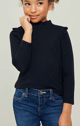 Basic Ribbed Mock Neck in Black