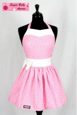 Sugar Baby apron (pink and white)