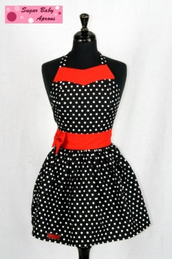 Sugar Baby Apron - Black with white polka dots and red sash