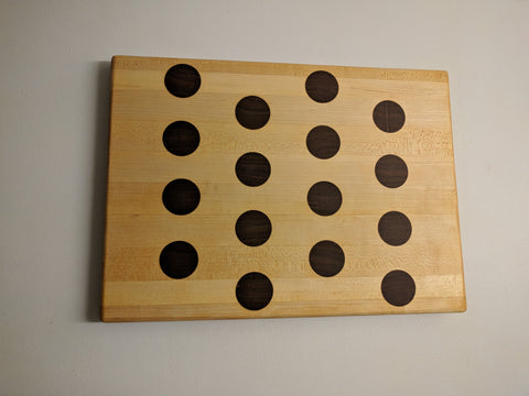 Maple Edge Grain Cutting Board with Walnut Polka Dots