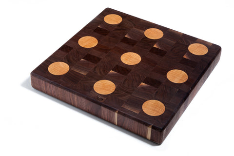 Walnut End Grain Butcher Block (Maple Polka Dots)