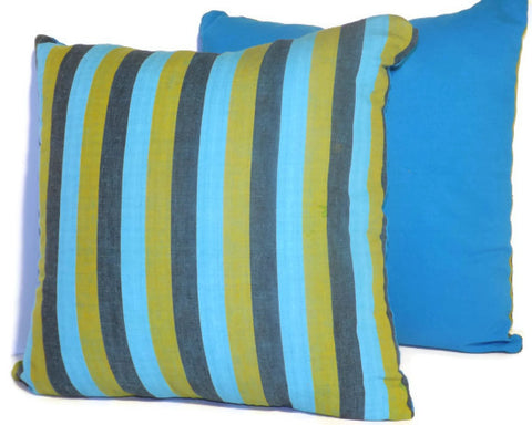 Mustard and Aqua Mayan throw pillows