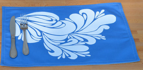 Royal blue placemat with white