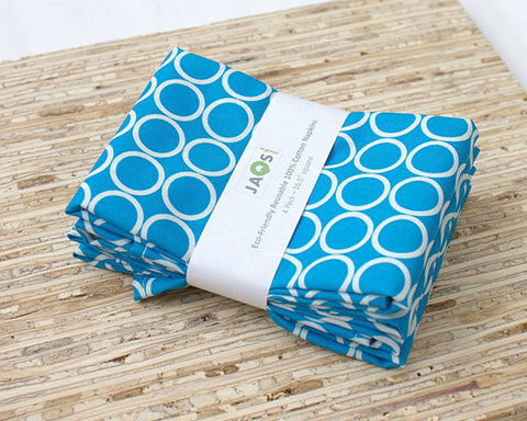 Four cotton napkins to a pack.  Robert Kaufman metro circles print