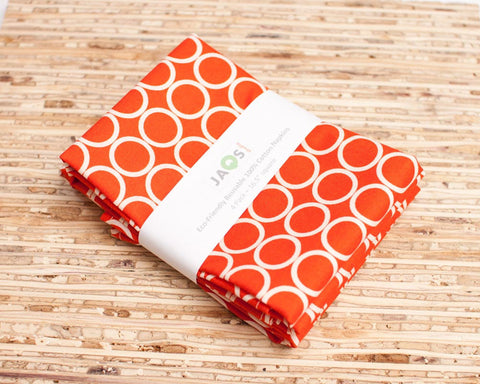 4 dark orange metro living print cloth napkins