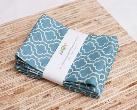 JAQs Cloth napkins, Blue Tile pattern