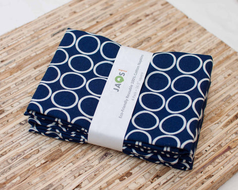 Navy Blue Cotton Napkins with Metro Living Circle print