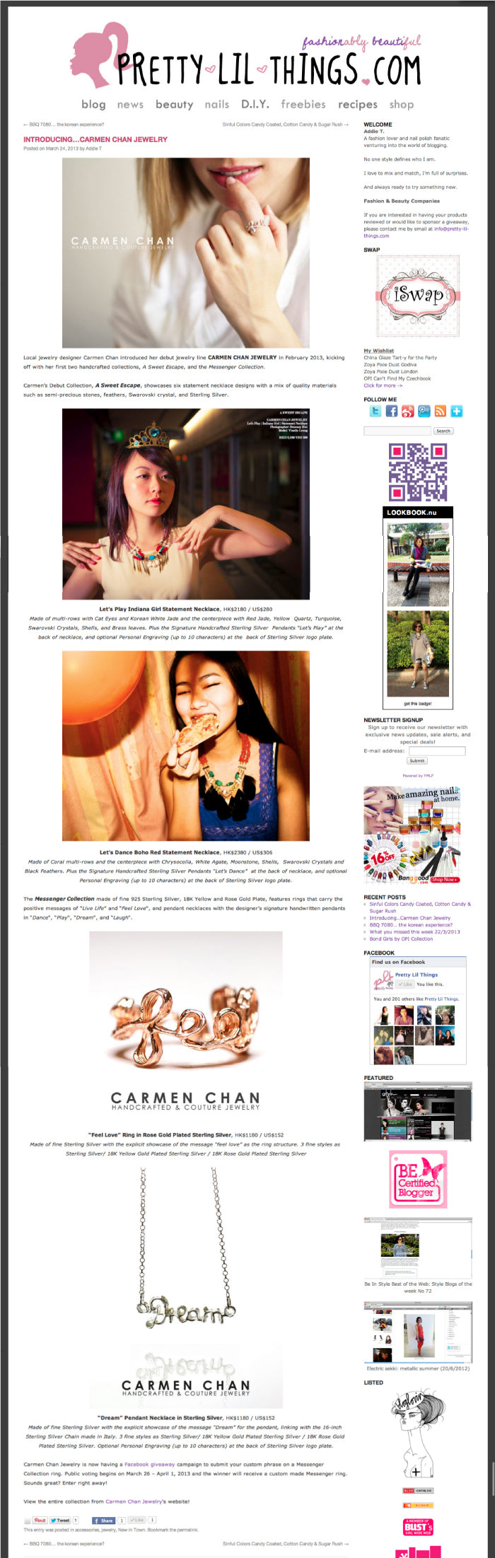Carmen Chan Jewelry featured in Pretty Lil Things