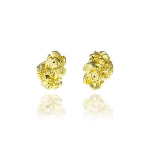 Rock Earrings - Shiny Gold