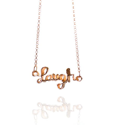 Pendant Necklace | Laugh | 18K Rose Gold Plated Sterling Silver